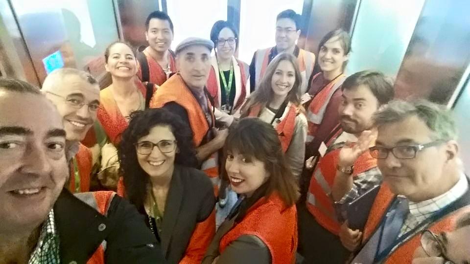 Durante la visita al aeropuerto de Barcelona - El Prat  en mayo 2015