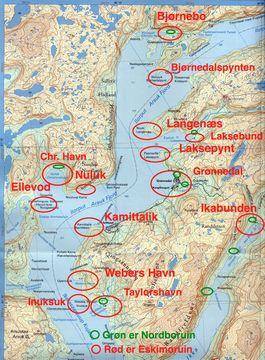 Oversigtskort over ruiner i fjorden