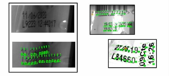 Ejemplos de lecturas OCR con Deep Learning sobre impresiones OCR de códigos torcidos, doblados, mal impresos, en superficies reflectantes de productos lácteos envasados.