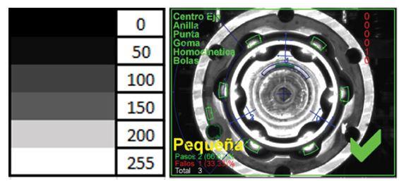 Ejemplo de imagen monocromo de una pieza metálica.