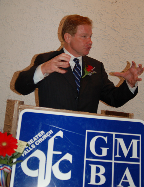 """U.S. REP. TOM DAVIS, speaking to the Greater Falls Church Chamber of Commerce and Merrifield Business Association in F.C. Tuesday, said he'll be voting in favor of the Marshall-Newman Amendment in November. Later, he told the News-Press his reason is because he's """"old fashioned."""" (News-Press photo)"""