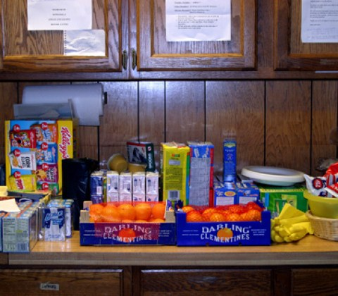 CUB SCOUT PACK 657 took part in the NCAC Scouting for Food Drive and collected over 2900 lbs. of non-pershiable food,pictured, for the Columbia Baptist Food Bank just in time for Thanksgiving. (Photo: Courtesy of John Murphy)'