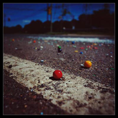 'Gumballs and Crushed Chicklets U.S. 1, New Jersey'  by Nicholas Syracuse, color photo from 2003
