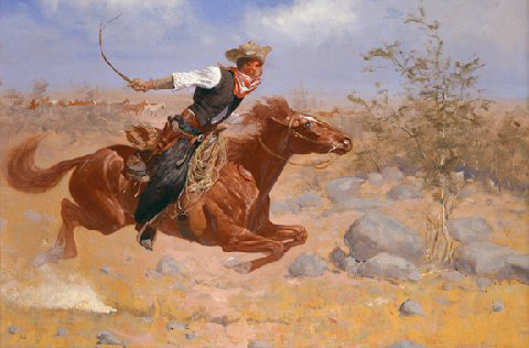 """Cowboy"" by Frederic Remington, Oil on Canvas circa 1890, Private Collection."