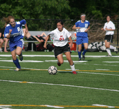 MASON'S RACHEL KAZMAN CONTROLS THE BALL in the Mustangs' 6-0 Tuesday victory over Madison County in the Bull Run Semifinals. (Photo: News-Press)