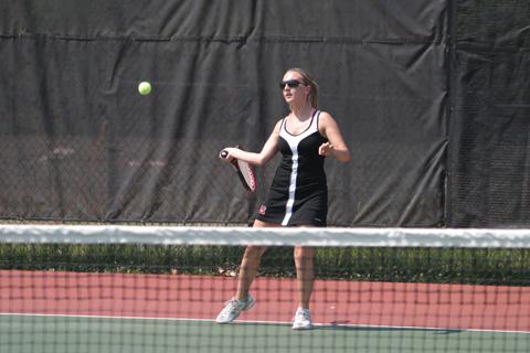 Mason's Alina Kaye returns a shot during her team's Region B Final match last Thursday. (Photo: News-Press)