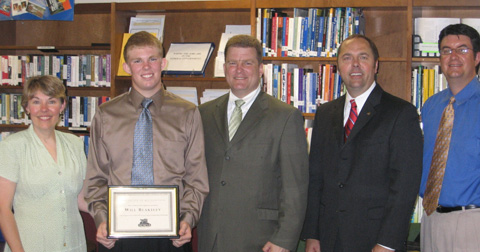 Will Blankeley, (second from the left)  a senior at Gorge C. Marshall High School, was one of the two students awarded with a scholarship from Acacia Federal Savings Bank for demonstrating the bank's mission of hard work, high standards and helping others. Marshall senior Eugenia Joya also received the scholarship. Blankeley will be attending Dayton University in Ohio, while Joya will attend NOVA Community College in Fairfax. (Photo: Courtesy Jeanene E. Sims)