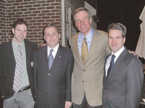 FORMER VIRGINIA GOVERNOR Mark Warner, now preparing a run for the U.S. Senate later this year, appeared at a Falls Church area fundraiser to support Del. Adam Ebbin last week. Left to right: Falls Church Film Festival coordinator Simon Van Steyn, Ebbin, Warner and Falls Church's Mauricio Vivero. (News-Press photo)