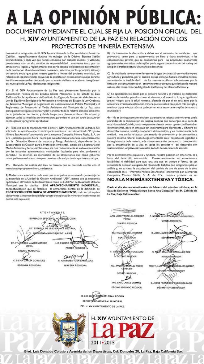 ayuntamiento de la paz documento de 2012 no a la mina