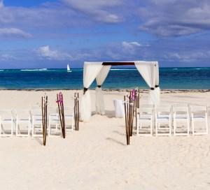 Wedding ceremony on the white caribbean beach