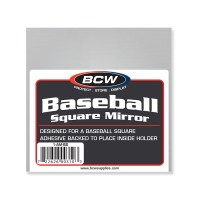 BASEBALL HOLDER - GRANDSTAND WITH MIRROR BACK & WOOD BASE