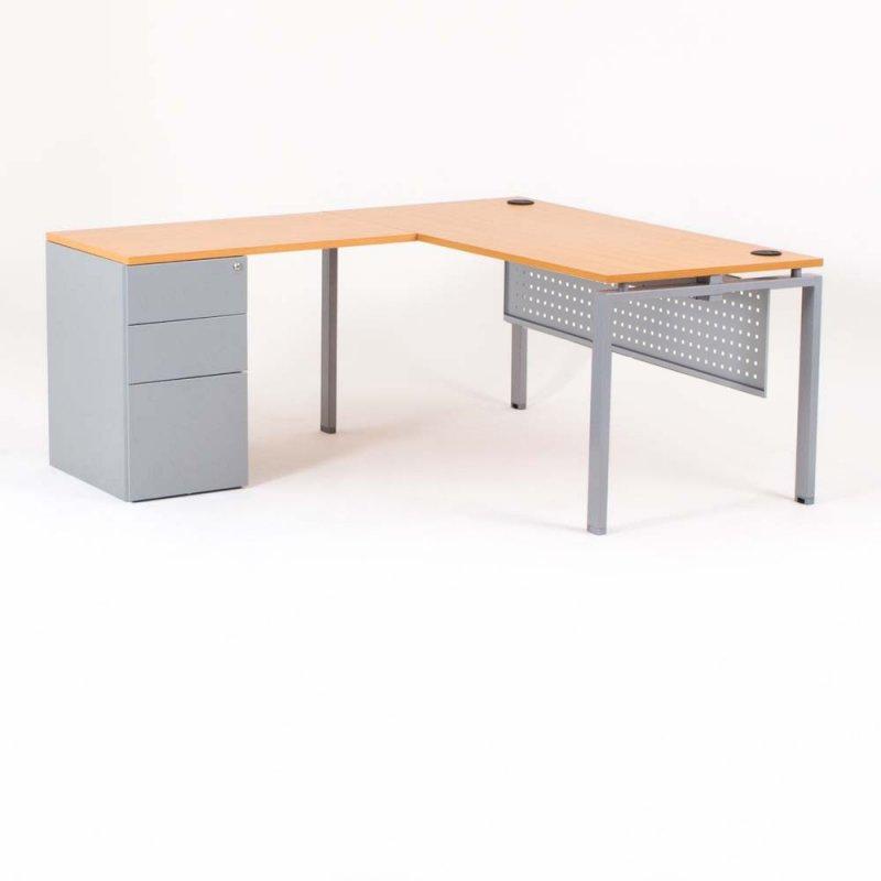 bureau d angle optimum avec retour accroche caisson hb porteur metal p 60 cm