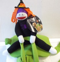 Sock Monkey Witch on Green Riding Saddle Dog Pet Costume S