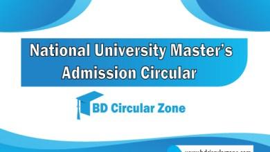 NU Masters Admission Circular 2019