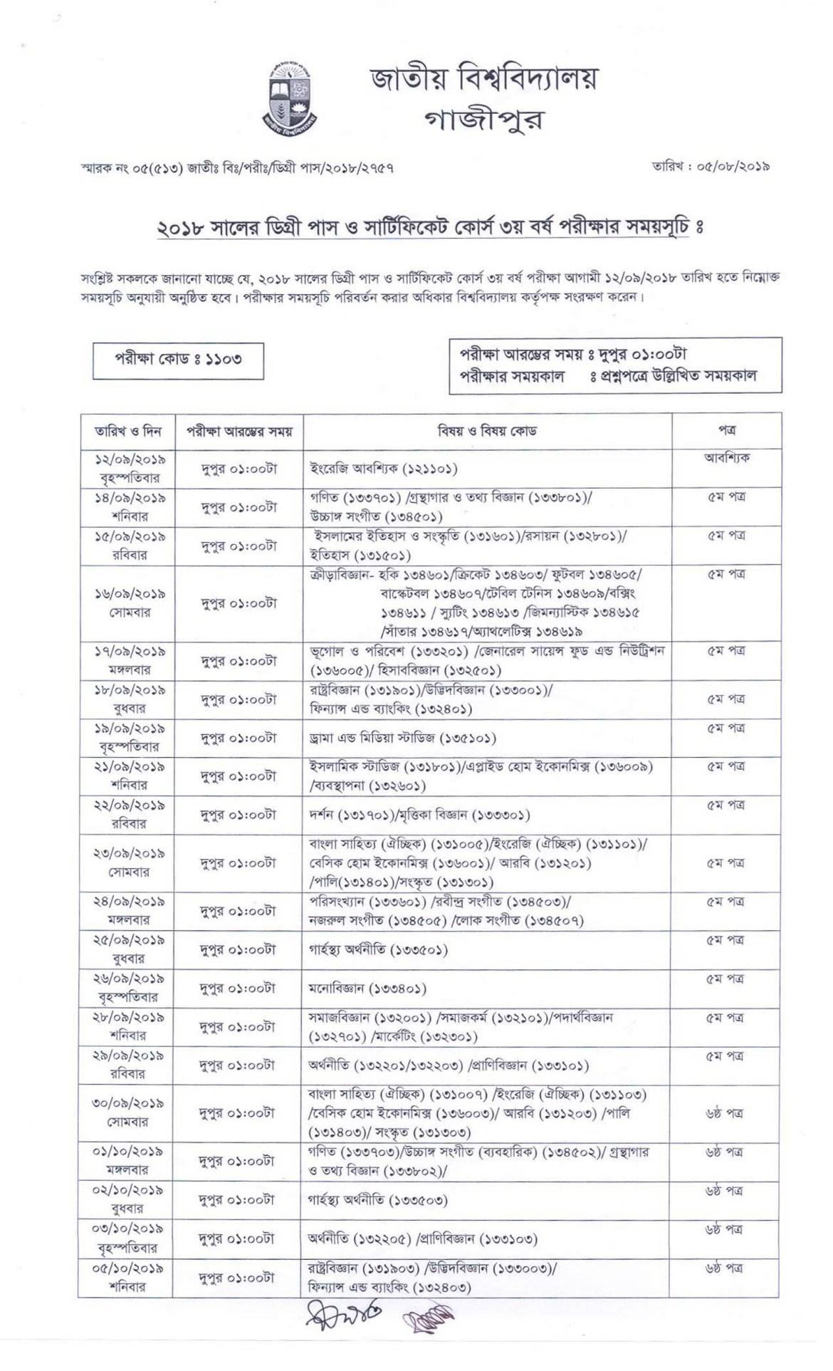 NU Degree 3rd Year Exam Routine 2019 PDF Download