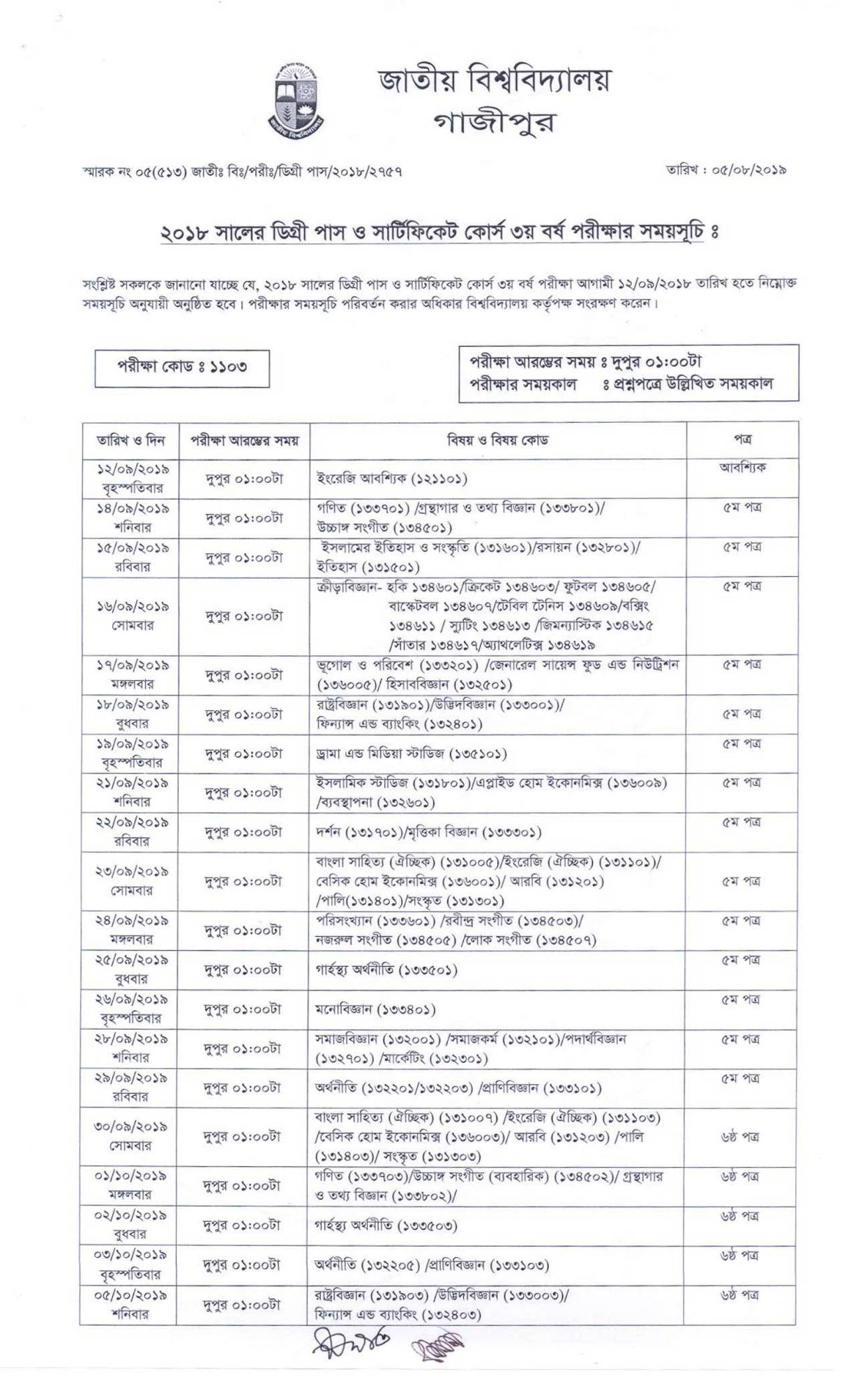 NU Degree 3rd Year Exam Routine 2019 PDF Download