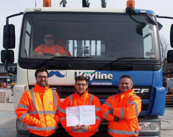 Chris Rekowski, Sales Negotiator at Keyline 's Swindon branch, has qualified as an HGV driver thanks to the company's 'Warehouse to Wheels' programme.