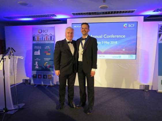 In May 2018, the British Coatings Federation (BCF) held their Annual Conference and Gala Dinner in Oxford. During the event, outgoing BCF President Vincent O'Sullivan, of PPG Architectural Coatings handed over presidency of the BCF to David Beckford, of Pronto Industrial Paints.