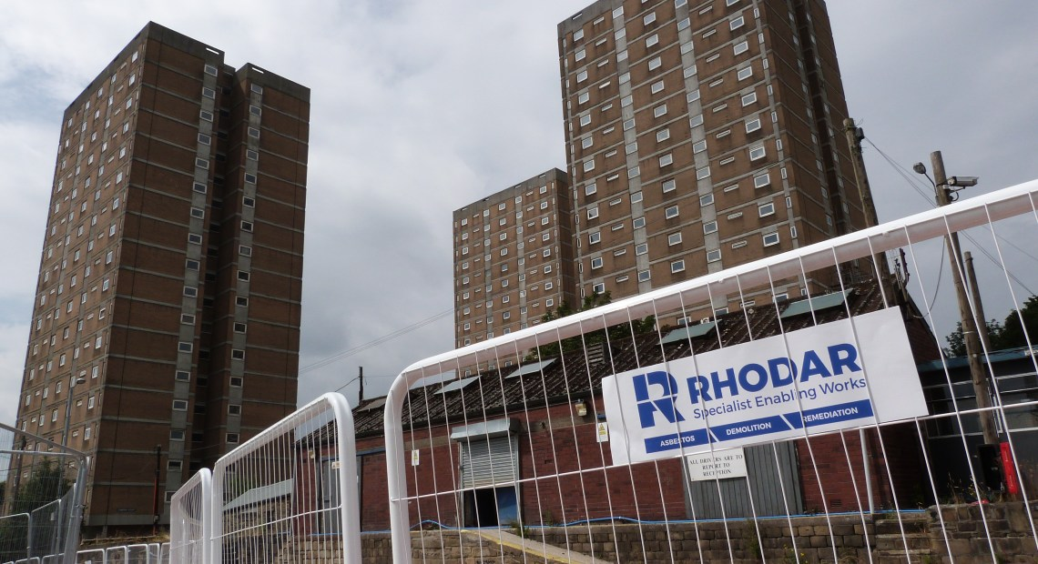 Flats to be demolished by Rhodar after standing empty for over 10 years.