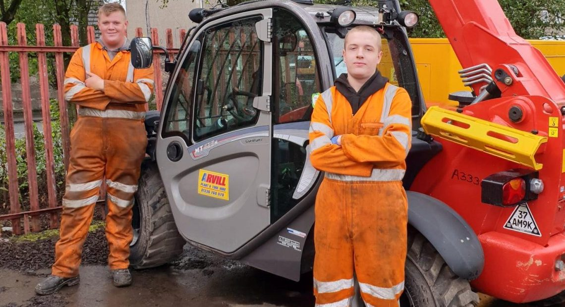 Arvill Plant and Tool Hire, the Airdrie-based family firm which has been servicing building and engineering companies large and small across Scotland since 1985, has taken on two young local men as apprentice mechanics