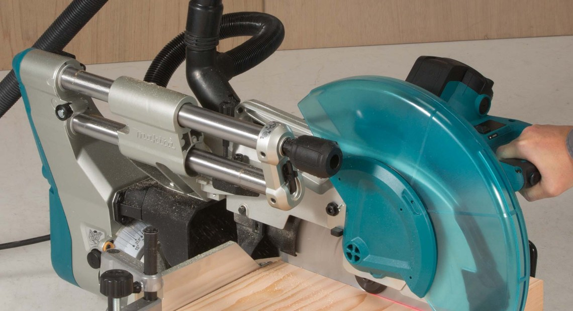 The new LS1219 305mm Slide Compound Mitre Saw joins the family of Makita saws that benefit from the new design of the sliding motor head layout allowing it to be operated close to a wall making it ideal for bench mounted applications.