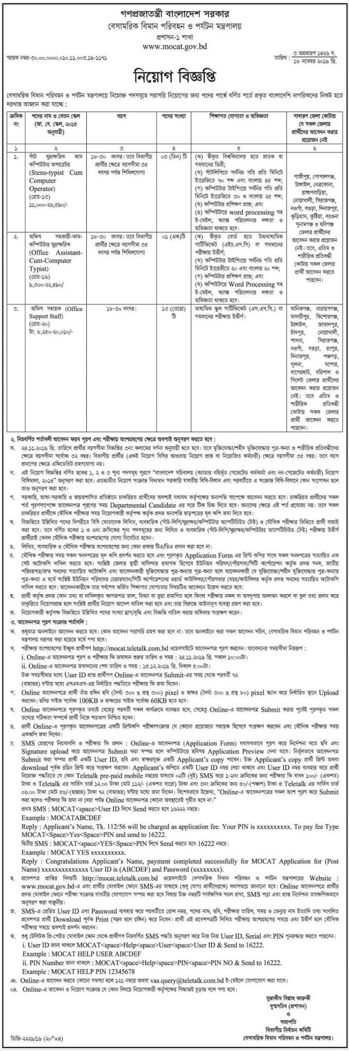 Ministry of Civil Aviation and Tourism Job Circular 2019