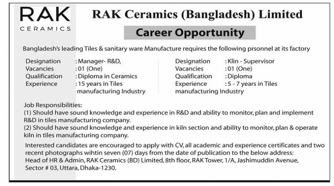 RAK Ceramics (Bangladesh) Limited Job Circular 2019