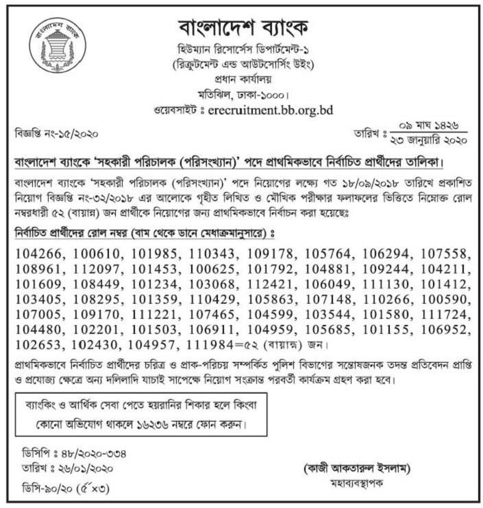 Bangladesh Bank Exam Result 2020