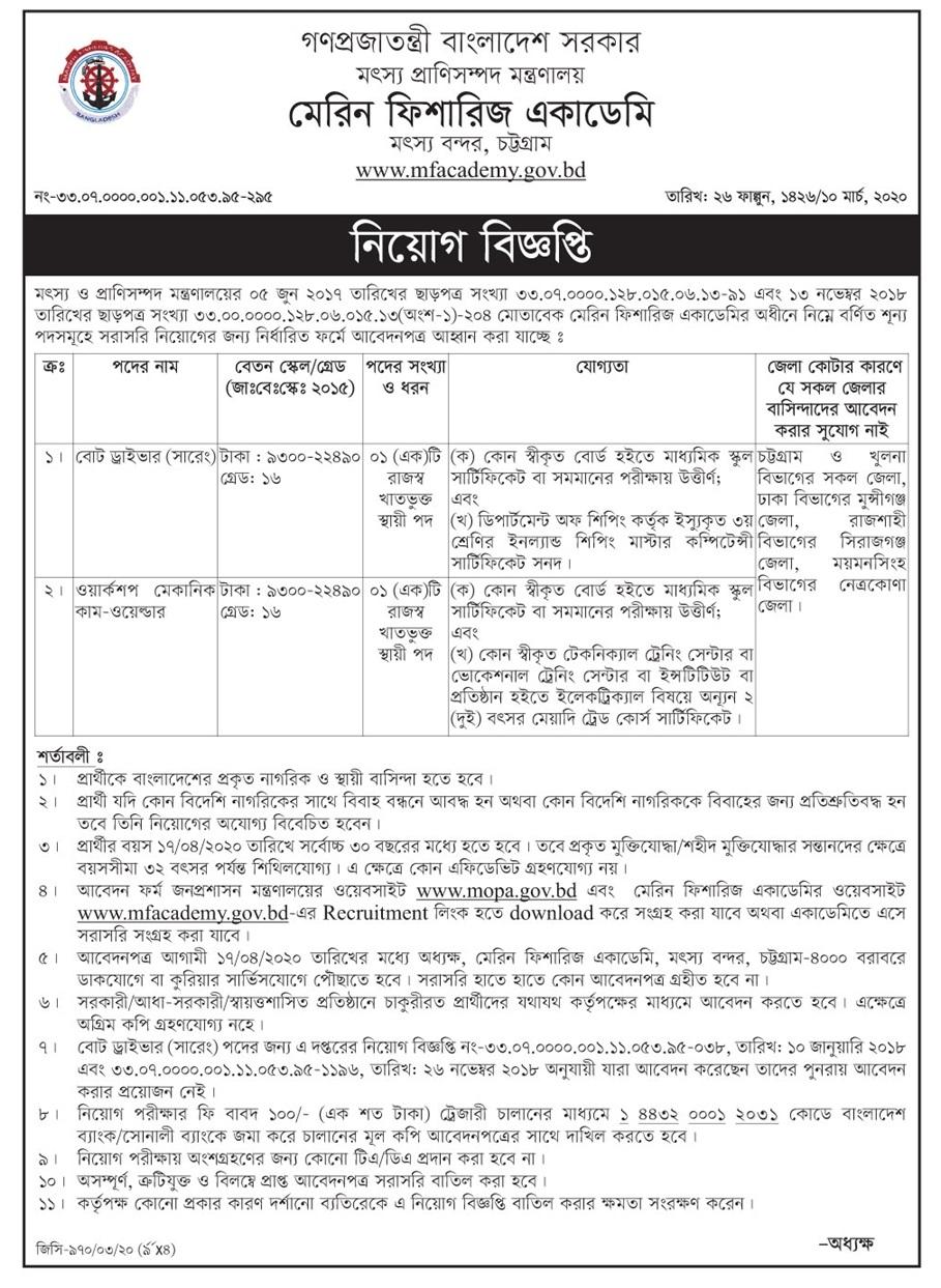 Bangladesh Marine Fisheries Academy (MFA) Job Circular 2020