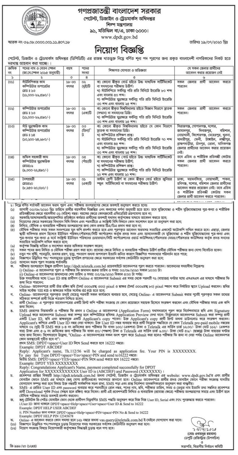 Department of Patents, Designs and Trademarks Job Circular 2020