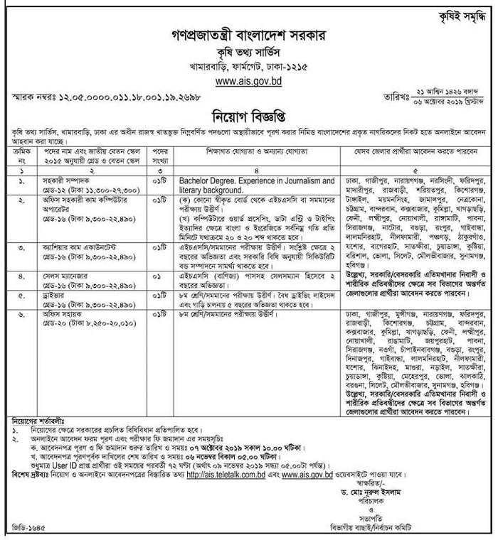 Agricultural Information Service (AIS) Job Circular 2019