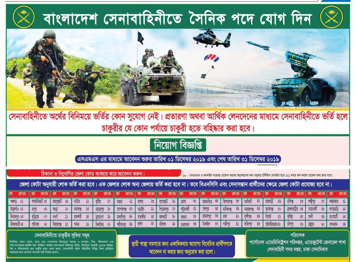 Source: Bangladesh Pratidin, 29 November 2019 Application Deadline: 31 December 2019 Interview Date: 26 January-30 July 2020 Bangladesh Army Civilian Job Circular 2019