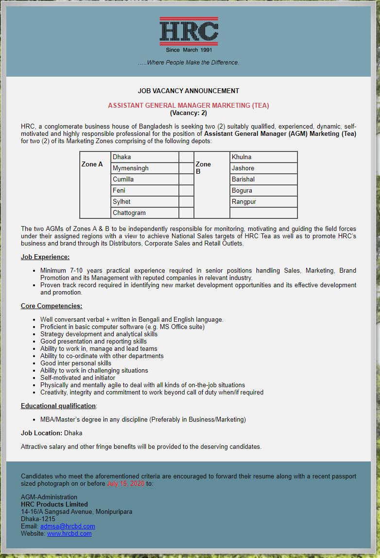 HRC Group Job Circular 2020