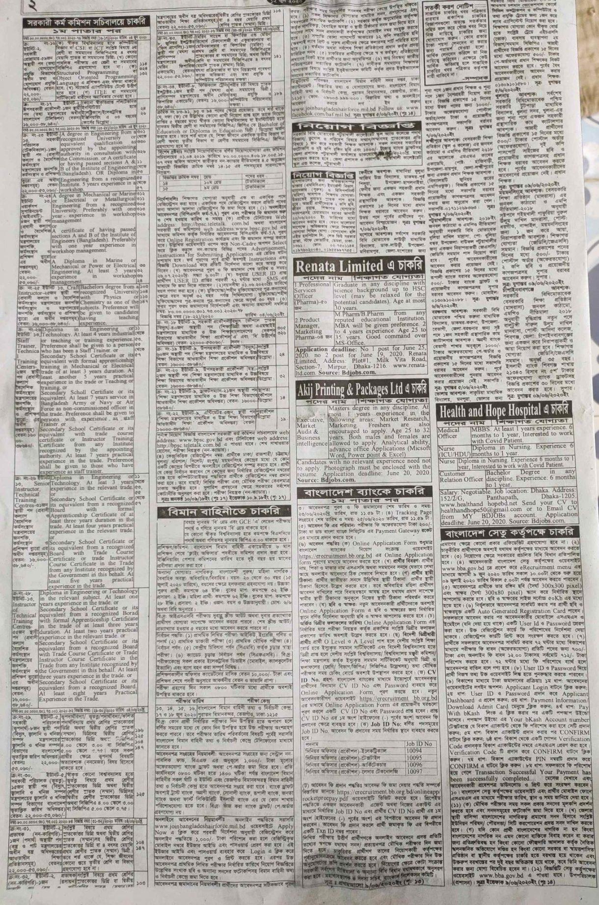 Saptahik Chakrir Khobor Newspaper 12 June 2020