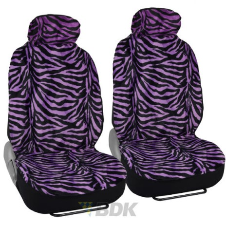 animal skin chair covers outdoor high top table and sets zebra purple front car seat 4pcs design low back