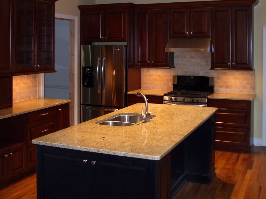 Contemporary Remodeled Kitchen With Deep Cherry Cabinets U0026 Contrasting  Island