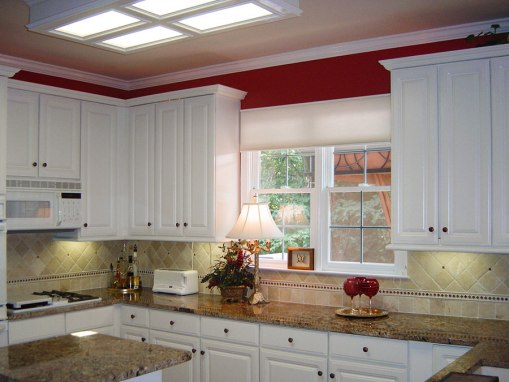 Traditional White Remodeled Kitchen with Red Accents