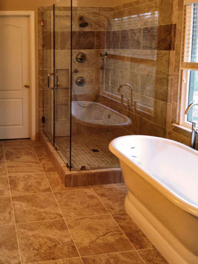 Earth tone luxury master bath bdm residential remodeling for Bathroom designs earth tones