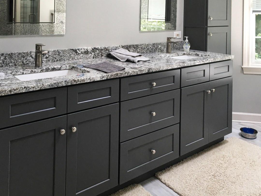 Contemporary Charcoal & White Master Bath