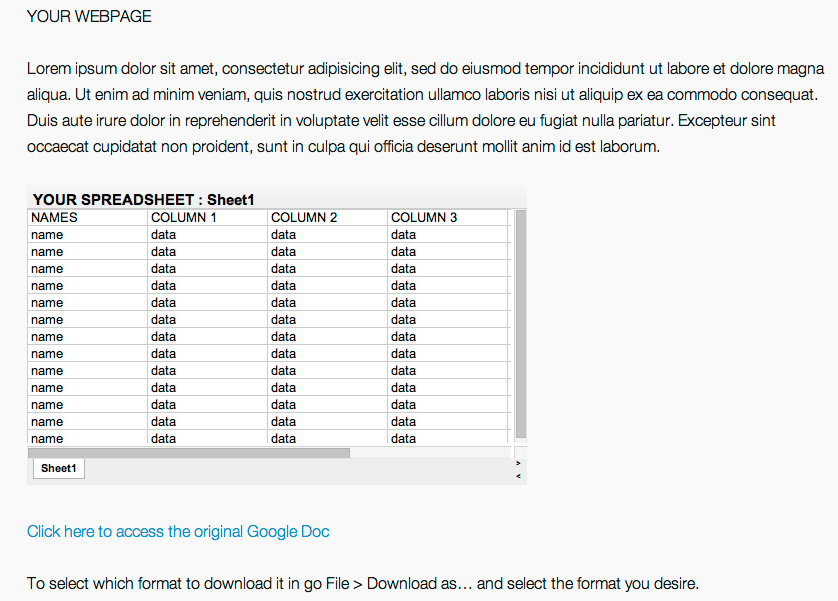 How to embed a live Google Docs spreadsheet into a webpage | BDNYC