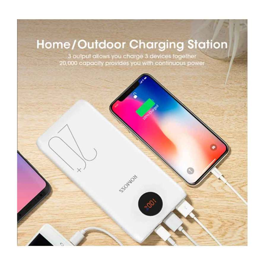 Romoss SW20 Pro 20000mAh Portable Power Bank Charger External Battery PD 3.0 Fast 18W Charging With LED Display For Phones Tablet Bdonix 7 Romoss 20000mAh Power Bank SW20 Pro