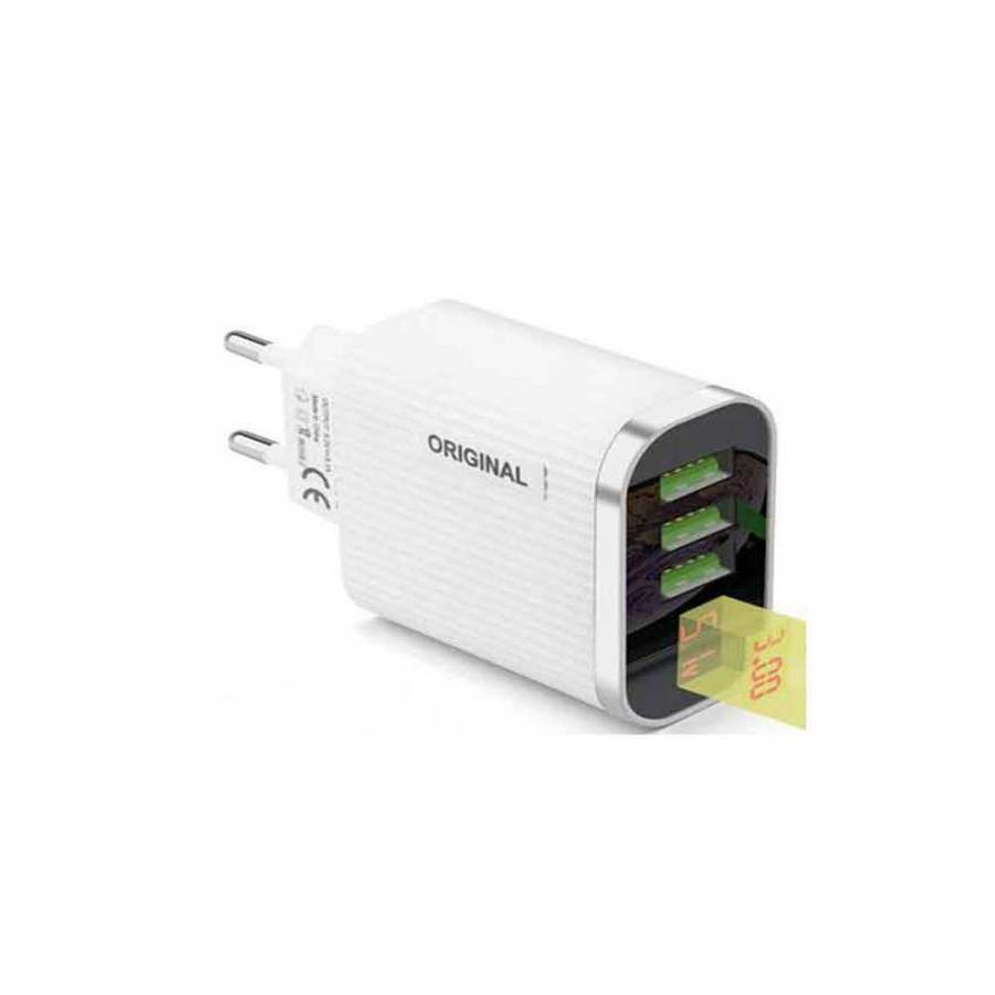 bDonix Original 3 USB Ports Charger With Voltage Display 1 Original Digital Display Mobile Charger With 3 Ports USB
