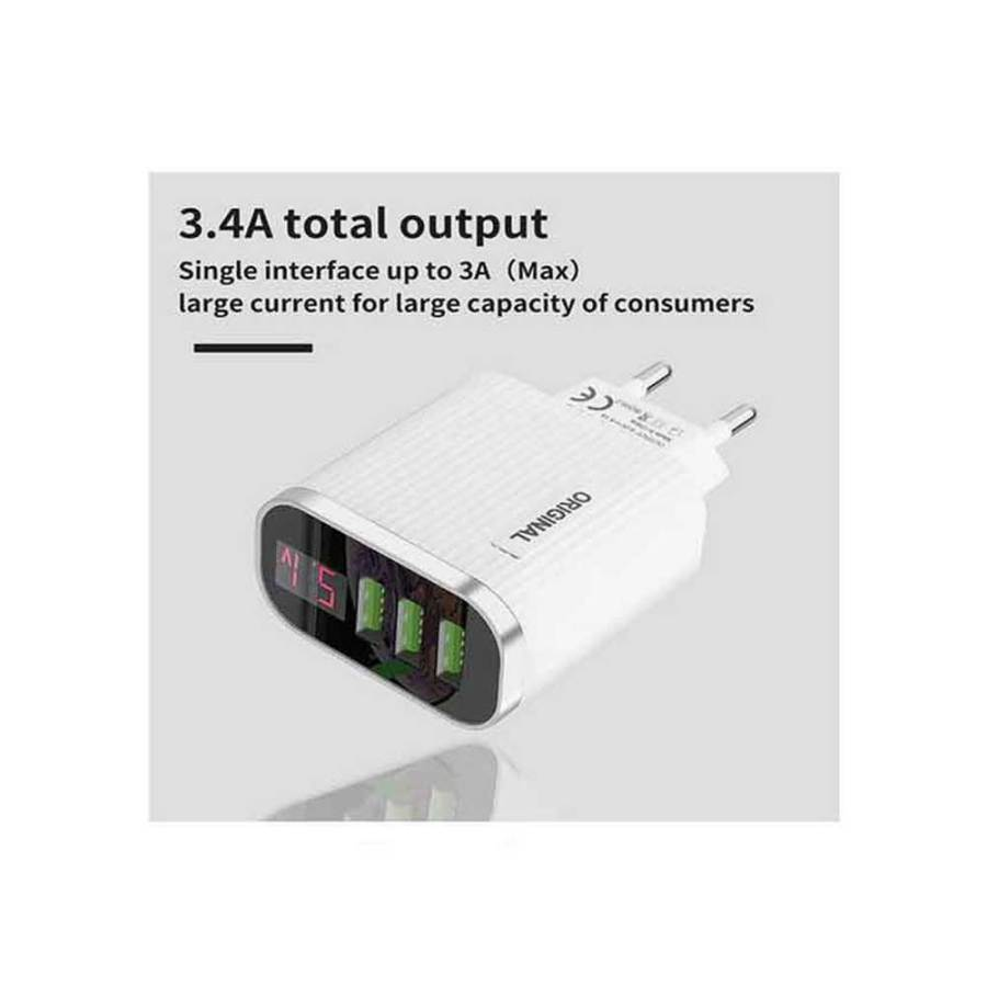 bDonix Original 3 USB Ports Charger With Voltage Display 4 Original Digital Display Mobile Charger With 3 Ports USB