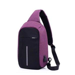 """mini-Rucsac antifurt maxim 10"""", port USB extern, violet"""