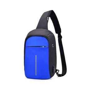 """mini-Rucsac antifurt maxim 10"""", port USB extern, albastru-negru"""