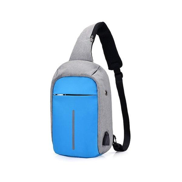 """mini-Rucsac antifurt maxim 10"""", port USB extern, albastru-gri"""