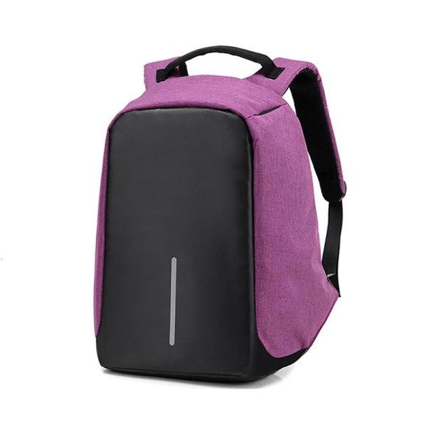 """Rucsac antifurt maxim 15.6"""", port USB extern de incarcare telefon, violet"""