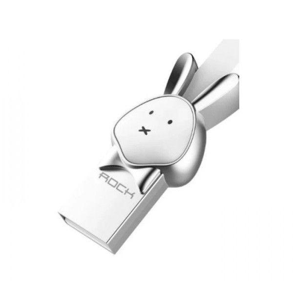 Cablu Micro USB Rockspace, Zodiac chinezesc, Iepure, Alb