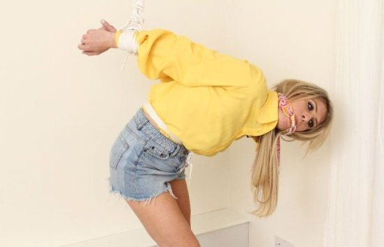 Beautiful Blond Girlfriend Bound and Gagged for Fun