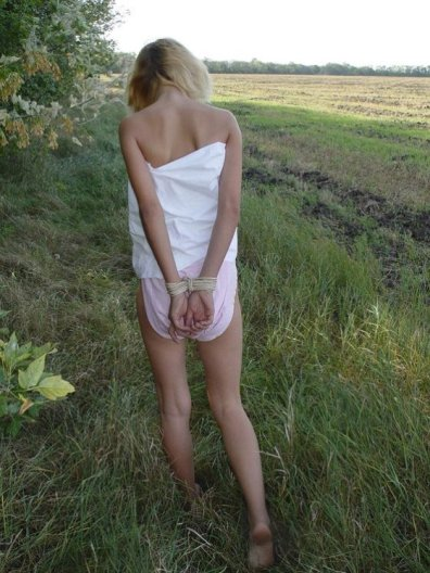 Cute Young Girlfriend Gets Bound and Stripped Outside